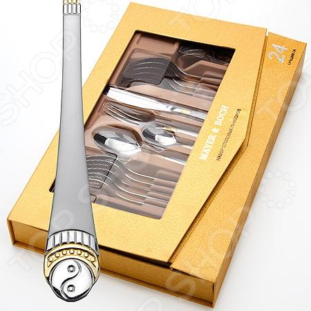 Набор столовых приборов Mayer&amp;amp;Boch MB-23455Столовые приборы<br>Красивые столовые наборы являются важной составляющей каждого дома, красота и эстетичность столовых приборов удовлетворит запросы самых взыскательных покупателей. Набор столовых приборов Mayer Boch MB-23455 эксклюзивный набор декорированных принадлежностей. Набор поможет в оформлении и сервировки как обеденного, так и праздничного стола. Все модели выполнены в оригинальном дизайне, изготовлены из высококачественного металла хромникелевой стали с напылением. Столовые наборы из нержавеющей стали такого состава отличается высокими антикоррозионными свойствами, значительной устойчивостью к воздействию кислот и щелочей. Не изменяет вкус и цвет пищи, не выделяет вредных веществ. Набор состоит из 24 предметов: 6 ножей, 6 вилок, 6 ложек, 6 чайных ложек. Рассчитан на 6 персон. Приборы отполированы для сохранения естественной гигиеничности предметов. Рукоятки приборов декорированы оригинально смоделированными фигурными штамповками. Эти узоры выполнены по технологии плазменного напыления, обеспечивающего высокую износостойкость покрытия.<br>