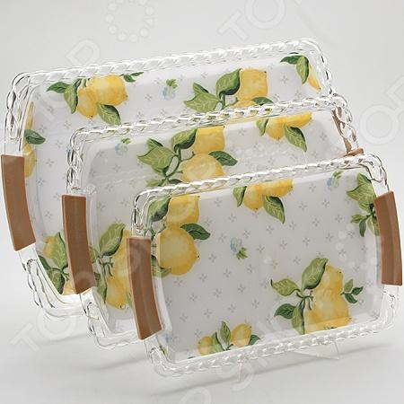 Набор подносов Mayer&Boch MB-3249 «Лимон» наб подносов мет mb 3пр рез зол руч