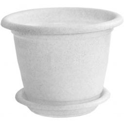 фото Кашпо с поддоном IDEA «Ламела». Диаметр: 13 см. Цвет: белый. Объем: 800 мл