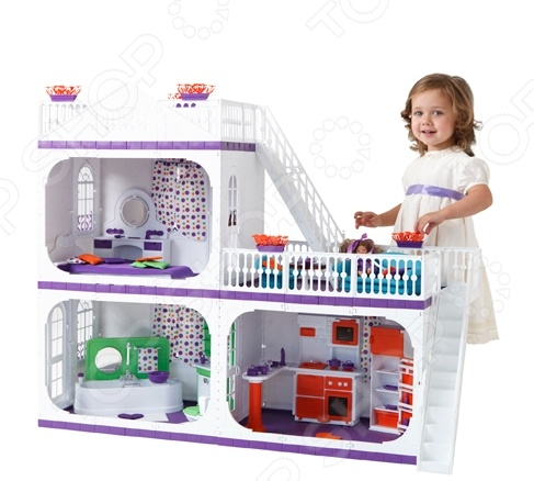 Коттедж кукольный Огонек «Конфетти»Кукольные домики. Мебель<br>Коттедж кукольный Огонек Конфетти это отличный подарок для любой девочки. В таком домике ее любимые куклы смогут жить в комфорте. Девочки смогут самостоятельно моделировать различные жизненные ситуации в домике со своими любимыми куклами. Вы сможете расположить в домике любую подходящую мебель в комплекте не идёт . В собранном доме вы сможете разместить кукол высотой до 30 см, ведь дом достаточно большой высота в 90 см .<br>