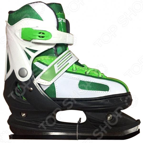 Коньки детские раздвижные ICE BLADE ShelbyКонькобежный спорт<br>Коньки раздвижные ICE BLADE Shelby предназначены для детей и подростков, а также для тех, кто делает первые шаги в катании на льду. Представленная модель выполнена в ярком молодежном дизайне, имеет яркую расцветку и рекомендована для использования на открытом или закрытом льду. Удобная трехуровневая система фиксации ноги, легкая смена размера, надежная защита пятки и носка сделают катание на льду невероятно комфортным и безопасным. Ботинок изготовлен из прочного и морозоустойчивого пластика, а внутренняя часть обработана теплым текстильным материалом. Лезвия же коньков выполнены из высокоуглеродистой стали с никелевым покрытием, что гарантирует прочность и долговечность. Они уже заточены, а значит вы можете сразу приступать к катанию, а не тратить время и деньги на первую заточку. Для удобства хранения и транспортировки, коньки поставляются в сумке.<br>