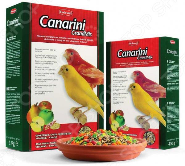 Корм для канареек Padovan Grandmix CanariniКорма. Лакомства для птиц<br>Корм для канареек Padovan Grandmix Canarini сбалансированная смесь, предназначенная для ежедневного употребления. Корм состоит исключительно из высококачественных продуктов, разработан специалистами с учетом особенностей питания канареек в их естественной среде обитания. Он содержит оптимальную пропорцию семян, фрукты, бисквитную крошку, а также ракушечник. А содержащиеся в составе корма витамины и минералы поддерживают здоровье пернатых, улучшают их пищеварение и укрепляют организм. Состав: канареечное семя 64 , семена рапс сурепица 11 , овес лущеный 9,9 , льняное семя 4,8 , масличный нуг гвизоция абиссинская 2,9 , яблоко, груша, печенье: пшеничная мука, дрожжи, краситель, минералы, натуральные вкусовые добавки, витамины. Витамины: A 4000МЕ, D3 500МЕ, E 7 мг.<br>