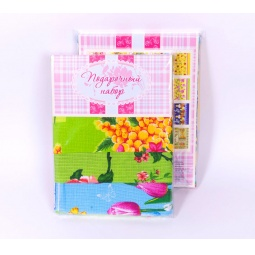 фото Комплект из 3-х кухонных полотенец подарочный ТексДизайн «Безмолвие, Божья коровка, Гжель»