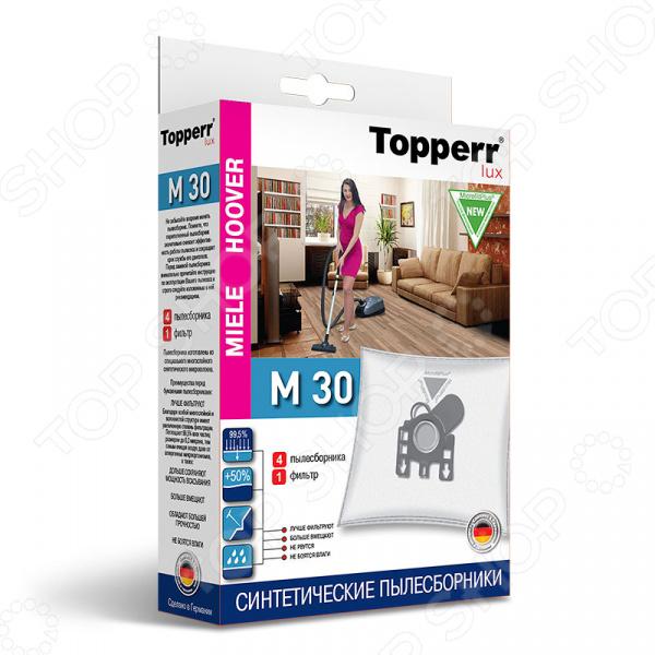 Мешки для пыли Topperr M 30Аксессуары для пылесосов<br>Мешки для пыли Topperr M 30 незаменимые аксессуары для традиционных пылесосов с мешком для сбора пыли. Они изготовлены из синтетического материала MicrofiltPlus. Многослойный нетканый фильтрующий материал отличается особой прочностью, устойчив к воздействию влаги, хорошо задерживает частицы пыли вплоть до 99,5 . Эти качества обеспечивают устройству хорошую мощность всасывания на протяжении всего срока службы пылесборника. Кроме того, обеспечивается чистота внутренних поверхностей пылесоса, а также сводится к минимуму вероятность попадания пыли и аллергенных микроорганизмов в воздух. Мешки рассчитаны на одноразовое применение. В комплекте 4 пылесборника и 1 фильтр.<br>