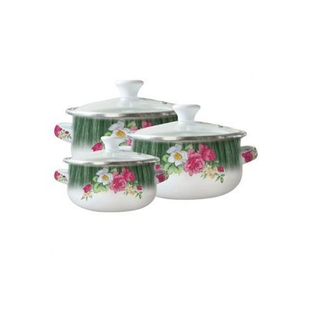 Купить Набор мини кастрюль «Чайная роза». Цвет: зеленый