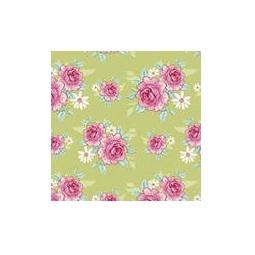 фото Отрез ткани Tilda Розы зеленый