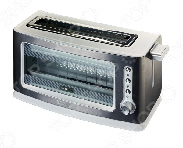 Тостер Ariete 111Тостеры<br>Тостер Ariete 111 - удобная, современная модель, предназначенная для одновременного приготовления двух тостов. На передней панели модель имеет прозрачное окно, благодаря чему можно наблюдать за уровнем прожаривания тостов. Благодаря галогеной лампе обеспечивается плавный и равномерный нагрев. С помощью термостата можно регулировать желаемую степень готовности. Тостер оснащен автоостановкой и функцией автоматического выброса ломтиков, что исключает опасность ожогов. Модель имеет функцию размораживания и подогрева, а так же оборудована поддоном для крошек.<br>