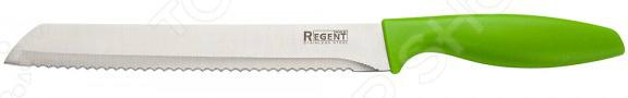 Нож Regent для хлеба FiloНожи<br>Нож Regent Filo с зубчатым лезвием из высококачественной нержавеющей стали станет незаменимым на вашей кухне. Благодаря особой форме режущей кромки, модель идеально подойдет для нарезания хлеба на аккуратные кусочки и ломтики. Лезвие долго остается острым, а цельнокованный клинок гарантирует долговечность изделия. Эргономичная объемная рукоять удобно ложится в ладонь, чтобы рука не уставала от долгой работы. Она выполнена из пластика, поэтому проста в уходе и очень надежна. Рельефная поверхность обеспечит надежный захват и не даст ножу скользить в руке при использовании. С ножом Regent Filo, вы почувствуете себя профессиональным шеф-поваром, который создает кулинарные шедевры день за днем.<br>