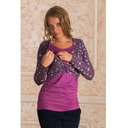 Купить Блузка для беременных Nuova Vita 1395.1. Цвет: лиловый, серый