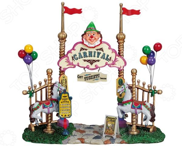 Фигурка керамическая Lemax «Вход в парк развлечений»Статуэтки и фигурки<br>Фигурка керамическая Lemax Вход в парк развлечений от голландского производителя сувенирной керамики LEMAX отличается насыщенной цветовой гаммой и продуманным сюжетом. Карнавал это всегда веселье и праздник, потому представленная модель может стать отличным подарком вашим друзьям и близким! LEMAX известный производитель сувенирной керамики из Голландии. Основой коллекции Лемакс являются коллекционные керамические домики со встроенными лампочками. Из этих домиков можно собирать города, добавляя к домикам разнообразные фигурки людей, транспорта, деревьев, ландшафтных элементов.<br>