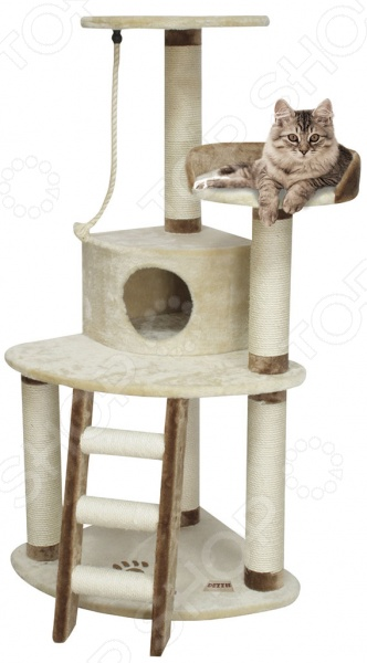 Дом-когтеточка DEZZIE Севилья незаменимая вещь для заботливых хозяев. С ее помощью когти вашей кошки всегда будут в порядке, а мебель, обои и ковры в целости и сохранности. Когтеточка занимает в квартире мало места и при этом выполняет функцию домика. Также предусмотрено удобное местечко, с которого кошка может наблюдать за всеми свысока.