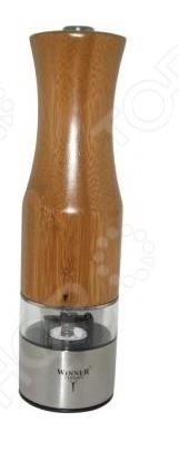 Мельница для перца Winner 4001-WRЕмкости для специй. Наборы<br>Мельница для перца Winner 4001-WR это практичная автоматическая мельница для специй, в особенности ее используют для помола перца, ведь свежий молотый перец обладает уникальным ароматом. Основа сделана из нержавеющей стали, а ручка из полированного бамбука. Удобно лежит в руке. Во время работы включается подсветка, а сама мельница работает от 6 батареек типа ААА.<br>