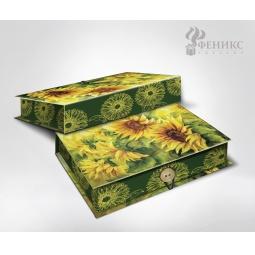 фото Шкатулка-коробка подарочная Феникс-Презент «Подсолнухи». Размер: L (22х16 см). Высота: 7 см