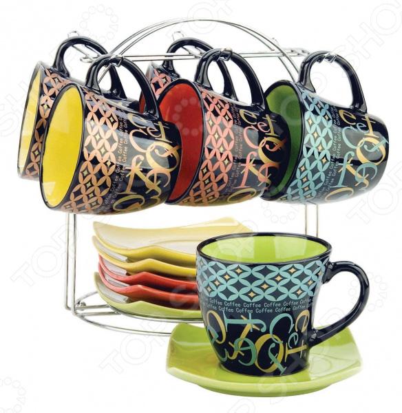 Чайный набор Bekker BK-5993Чайные и кофейные наборы<br>Чайный набор Bekker BK-5993 не просто станет прекрасным дополнением к набору кухонных принадлежностей, но и внесет яркий акцент в сервировку вашего стола. К тому же, он будет отличным приобретением или подарком для любителей чая и позволит превратить обычное чаепитие в настоящий ритуал. Посуда отличается стильным дизайном и великолепным качеством исполнения, изготовлена из высококачественной керамики и раскрашена в яркие насыщенные цвета. В комплект входят шесть чайных чашек с блюдцами и металлическая подставка.<br>