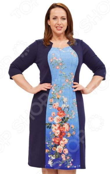 Платье Матекс «Загадочная леди». Цвет: синийПовседневные платья<br>Платье Матекс Загадочная леди это легкое платье, которое поможет вам создавать невероятные образы, всегда оставаясь женственной и утонченной. Благодаря свободному крою оно скроет недостатки фигуры и подчеркнет достоинства. В этом платье вы будете чувствовать себя блистательно в любой ситуации. Можно отметить следующие преимущества:  Универсальная длина чуть ниже колена.  Рукава скроют недостатки в области плеч.  Круглый вырез горловины.  Спереди идет контрастная вставка. Материал плотный, хорошо тянется 65 вискоза, 30 полиэстер, 5 лайкра, вставки 100 полиэстер . Не линяет, не скатывается, формы от стирки не теряет.<br>