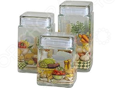 Набор банок с крышками Rosenberg 6202Банки для хранения<br>Набор банок с крышками Rosenberg 6202 - удобное и практичное дополнение вашего кухонного интерьера, с которым хранить продукты станет ещё проще и удобней. Стеклянные банки с крышками идеально подходят для хранения различных сыпучих продуктов, например, круп, каш, специй, соли или сахара. Различный объем банок делает набор ещё более практичным и функциональным. Изделия выполнены из высококачественных материалов, которые не влияют на вкусовые и ароматические свойства хранящихся в них продуктов. Крышка плотно прилегает к контейнеру, что обеспечивает прекрасную воздухонепроницаемость. Яркий и красочный дизайн изделий отлично впишется в любую кухню и станет её настоящим украшением.<br>