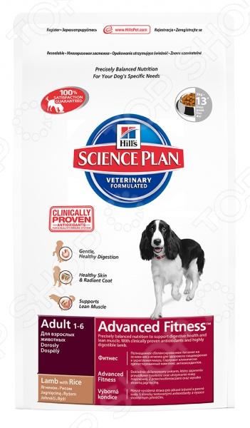Корм сухой для собак Hills Science Plan Advanced Fitness с ягненком и рисомСухой корм<br>Корм сухой для собак Hill 39;s 7701 Ягненок и рис - полноценный сбалансированный корм, приготовленный из отборных ингредиентов, без добавления красителей и консервантов. Каждый рацион Science Plan включает в себя комплекс антиоксидантов с клинически подтвержденным эффектом, который поддерживает иммунную систему вашего питомца. Hill 39;s Science Plan Canine Adult Advanced Fitness Lamb Rice - предназначен для поддержания здорового пищеварения и крепкой мускулатуры. Корм предназначен для собак от 1 до 7 лет, мелких и средних пород размеров, умеренно активным. Основные преимущества данного корма:  сбалонсированное содержание протеинов, фосфора и натрия обеспечивает суточную норму, необходимую для крепкого здоровья собаки;  высокое содержание незаменимых жирных кислот благотворно сказывается на деятельности нервной и иммунной системы, способствуя здоровью кожи и шерсти;  высокая усваиваемость повышает всасываемость нутриентов;  поддерживает иммунитет собаки, благодаря комплексу антиоксидантов, которые нейтрализуют свободные радикалы. Рекомендации по кормлению: Перевод собаки на рацион Hill 39;s Science Plan необходимо провобить постепенно в течении 7 дней, смешивая прежний корм с новым, постоянно увеличивая порцию последнего. В этом случае вы дадите своему питомцу возможность в полной мере насладится сбалансированным питанием Hill 39;s Science Plan. Данный вид корма не рекомендуется:  кошкам;  щенкам;  беременным и кормящим сукам.      Вес собак кг     2,5     5     7,5     10     20     30     40     50     60       Сухой рацион г     50-70     85-115     115-160     140-195     240-330     325-445     400-555     475-655     10 на кг<br>