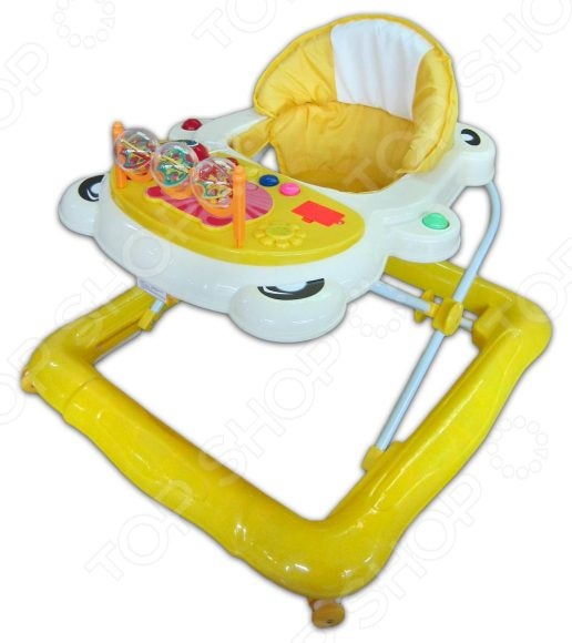 Развивающая каталка-ходунки Shantou Gepai SH381CE поможет малышу, который учится делать первые шаги, уверенно пойти вперед и научиться хорошо стоять на ногах. Малыша ждет увлекательное путешествие по дому и много открытий! Прогулка будет еще веселее, ведь на игровой панели ходунков есть столько всего интересного. На панели расположены кнопки, нажимая которые, малыш будет слушать различные звуки и мелодии. Для удобства использования высота ходунков регулируется, а на сидении находится мягкий вкладыш. Для работы необходимы батарейки 2хАА, которые нужно приобретать отдельно.