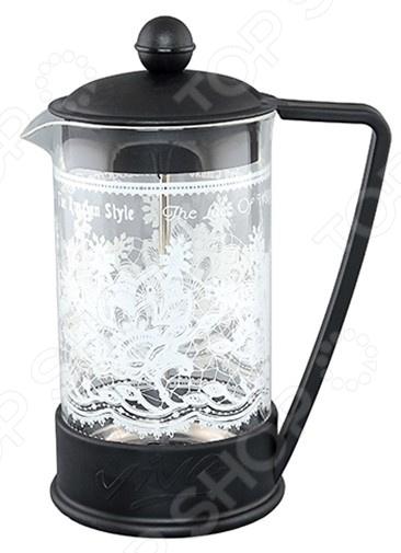 Френч-пресс Viva «Кружево. Вологда» BF-727Френч-прессы<br>Френч-пресс Viva Кружево. Вологда BF-727 специальный чайник с поршнем, предназначен для приготовления кофе или чая способом настаивания и отжима. Процесс получения необычного напитка займет не более 5 минут. В заварник засыпается чай или кофе крупного помола и заливается горячей водой, а затем настаивается около 4 минут. Отличное приспособление для придания аромата и получения насыщенного вкуса вашего напитка. Особенности:  Чайник имеет подставку с ручкой из пластика.  Поршень используется для отжима чая и фильтрации.  Прозрачная емкость позволяет видеть количество жидкости в чайнике.  Изделие имеет подарочную упаковку и идеален для выбора подарка.<br>