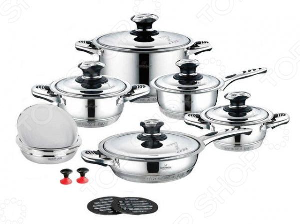 Набор посуды Bohmann BH-1625Наборы посуды для готовки<br>Набор посуды Bohmann BH-1625 комплект необходимой кухонной утвари в арсенале любой хозяйки. Качественный и долговечный набор предназначен для приготовления здоровой и экологически чистой пищи. В набор входят 3 кастрюли с различным объемом, подходящие к ним крышки, большая сковорода со стальной крышкой, небольшой ковш с крышкой и несколько дополнительных аксессуаров. Изделия выполнены из качественной нержавеющей стали марки 18 10, которая проходит тщательную проверку качества. Этот технологичный материал обеспечивает не только быстрый нагрев, но и долгое сохранение тепла, поэтому ваши блюда смогут дойти самостоятельно, сохраняя все ароматы и вкусовые качества. Другой особенностью изделий является их уникальное 9-слойное дно, которое обладает прекрасными термоаккумулирующими характеристиками. На стальных крышках расположены термодатчики. Набор обеспечивает около 40 сохранения энергии при приготовлении блюд. Посуда подходит для приготовления на различных варочных поверхностях, в том числе и на индукционных. Гладкая, почти зеркальная, поверхность придает набору стильный и современный внешний вид, поэтому готовка с таким набором будет не только удобной, но и эстетичной.<br>