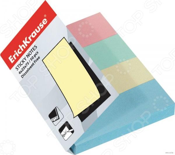 Набор стикеров-закладок Erich Krause 7325Бумага для заметок. Стикеры. Блоки<br>Набор стикеров-закладок Erich Krause 7325 - бумажные закладки с клеевым краем нежных цветов, расположенные в одном блоке. Полезная канцелярская принадлежность позволит записать важную информацию и разместить под рукой. Также клейкая основа позволит прикрепить закладку в книге или к какой-либо гладкой поверхности. При отклеивании клеевая основа не оставляет следов и не повреждает листы книг. Такой блок незаменим для современного человека. В наборе находится 4 блока оранжевого, зеленого, желтого и голубого цвета.<br>