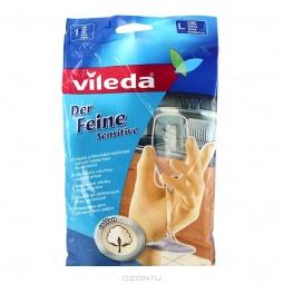 фото Перчатки для деликатных работ с хлопком Vileda. Размер: L