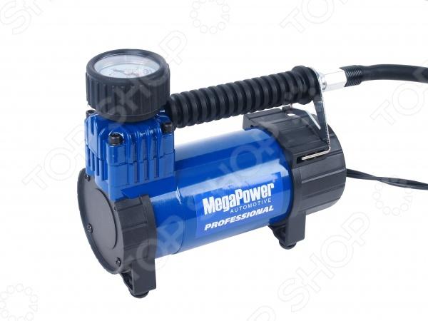 Поршневой компрессор автомобильный Megapower M-11040 устройство, которое поможет легко и очень быстро накачать ваши шины. При этом в отличие от ручного насоса вам не придется прикладывать дополнительных физических усилий. Возьмите его в дорогу, чтобы всегда быть готовым к непредвиденной ситуации. Кроме того, прибор подойдет для бытовых нужд: подкачать мячик, матрас и прочие надувные изделия.  Питается от прикуривателя.  Набор переходников.  Уровень шума около 69 дБ.
