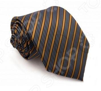 Галстук Mondigo 34069Галстуки. Бабочки. Воротнички<br>Галстук Mondigo 34069 это стильный мужской галстук горчичного цвета из высококачественной микрофибры, украшенный тонкими синими диагональными полосками. Галстук давно стал неотъемлемым аксессуаром мужского гардероба. Многие мужчины, предпочитающие костюмы или же вынужденные носить их по долгу службы, знают, что галстук это способ придать индивидуальности. Правильно подобранный галстук может многое рассказать о его владельце: о вкусе, пристрастиях и характере мужчины. Галстук сделан из качественного материала, который хорошо держит узел.<br>