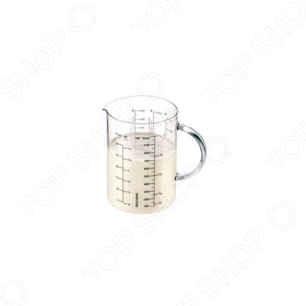 Емкость измерительная с воронкой Tescoma DeliciaМерные ложки. Стаканы<br>Емкость для напитков Феникс-Презент 37752 вместительная емкость для измерения жидкостей и сыпучих продуктов, которые будут использоваться во время готовки. Выполнена из качественного боросиликатного стекла, выдерживающего высокие температуры. Емкость оснащена мерной шкалой до 1 литра.<br>