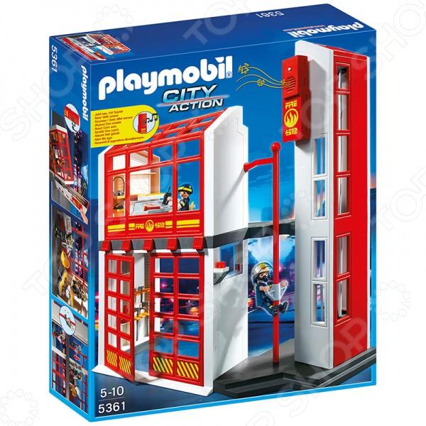 Конструктор игровой Playmobil 5361 «Пожарная служба: Пожарная станция с сигнализацией» playmobil пожарная служба команда пожарников 5366