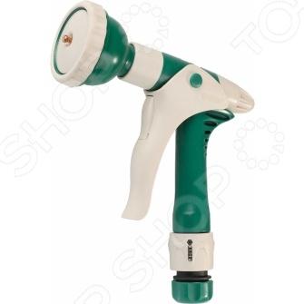 Пистолет-распылитель Raco Comfort-Plus 4255-55/528CПистолеты для полива<br>Пистолет-распылитель Raco Comfort-Plus 4255-55 528C это распылитель, который предназначен для полива растений через подключение к садовому шлангу. Подойдет как для полива цветов, так и кустарников или деревьев. Корпус выполнен из пластика, а значит отличается повышенной износостойкостью. Покрытие из пластичной резины гарантирует комфорт и легкость использования, защищает распылитель от выскальзывания из рук. Латунное сопло помогает регулировать струю воды для того, чтобы не повредить нежные растения чрезмерным напором. Можно отметить следующие особенности представленного пистолета:  Четыре режима работы: жесткая струя, мягкая струя, распыление, аэрирование.  В комплект входит соединитель Comfort-Plus на 1 2 с автостопом.<br>