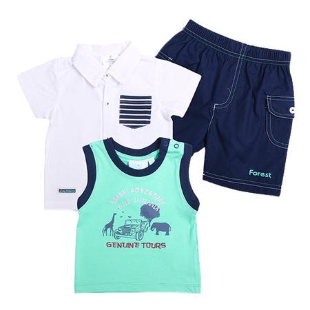 Купить Комплект: футболка, рубашка и шорты WWW Safari. Цвет: зеленый