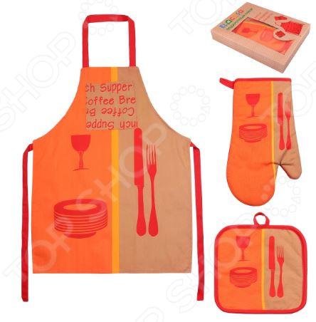Набор кухонный: фартук, прихватка и рукавица EL Casa «Оранжевое настроение»Кухонные полотенца. Прихватки<br>Не секрет, что кухня это сердце любого дома. Здесь мы не только воплощаем в жизнь свои кулинарные таланты, но и ежедневно собираемся всей семьей, чтобы пообщаться и поделиться впечатлениями. Вот поэтому то каждой хозяйке и хочется сделать свою кухню максимально удобной, функциональной и уютной. Набор кухонный: фартук, прихватка и рукавица EL Casa Оранжевое настроение станет отличным дополнением к комплекту вашего домашнего текстиля. Ну как современная хозяйка может обойтись без фартука или кухонных прихваток Фартук убережет одежду от грязи и попадания жирных брызг, в то время, как прихватки пригодятся вам во время готовки и надежно защитят руки при выемке горячих блюд из духового шкафа. Набор EL Casa Оранжевое настроение это:  Практично благодаря удлиненному поясу, фартук подойдет практически под любой обхват талии.  Удобно прихватка и рукавица снабжены петлями для подвешивания к крючкам.  Качественно фартук и прихватки выполнены из смеси хлопка и полиэстера ткани, отличающейся особой прочностью, влаговпитываемостью и устойчивостью к истиранию.  Стильно изделия украшены ярким тематическим принтом.<br>