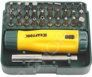 Отвертка реверсивная с битами и адаптером Kraftool 26142-H32 отвертка реверсивная с битами и торцевыми головками kraftool 25556 h27
