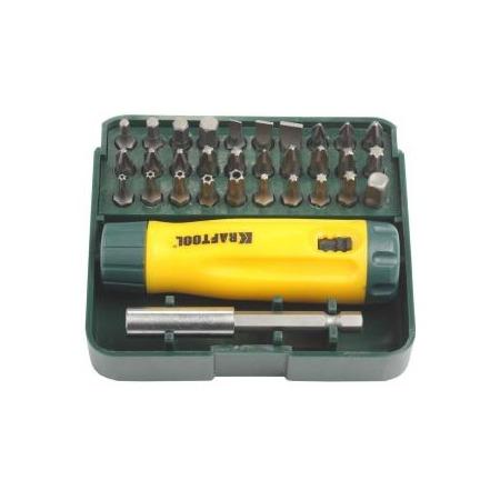 Купить Отвертка реверсивная с битами и адаптером Kraftool 26142-H32