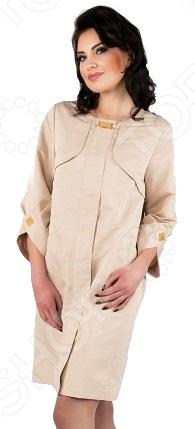 Плащ D`imma «Асселина». Цвет: бежевыйВерхняя одежда<br>Плащ D imma Асселина прекрасный вариант для осенне-весеннего сезона. Невероятно стильный плащ подчеркнет женственность вашего образа. Можно отметить следующие особенности этого изделия:  Широкие укороченные рукава, собранные на манжет оригинальной формы.  Отличительными элементами плаща являются скрытая широким клапаном застежка.  Аккуратная круглая горловина без воротника, подчеркивающая линию шеи.  Рукав вшивной. Ткань очень удобная и подойдёт даже для дождливой погоды верх:78 полиэстер, 22 нейлон; подкладка: 50 полиэфир, 50 полиэстер . Уникальная модель, которую можно приобрести только на нашем телеканале!<br>