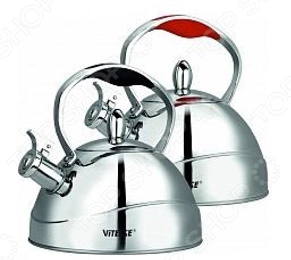 Чайник со свистком Vitesse VS-7810. В ассортиментеЧайники со свистком и без свистка<br>Товар продается в ассортименте. Вид и состав набора при комплектации заказа зависит от наличия товарного ассортимента на складе. Чайник со свистком Vitesse VS-7810 - выполнен из долговечной и прочной стали, которая не окисляется и устойчива к коррозии. Модель имеет мнoгocлoйнoe тepмoaккyмyлиpyющee дно. Объем чайника составляет 2,5 литра, оснащен свистком, благодаря которому вы можете не беспокоиться о том, что закипевшая вода зальет плиту. Как только вода закипит - свисток оповестит вас об этом. Ручка чайника изготовлена из специального теплоустойчивого материала, который не обжигает руки. Удобный и практичный чайник отлично впишется в интерьер любой кухни.<br>