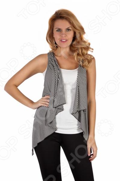 Жилет Mondigo 8353 это элегантный жилет, который поможет вам завершить ваш образ стильной женщины. Такой жилет подойдет как для работы в офисе, так и для вечерних романтических прогулок. Строгая элегантность кроя жилета подчеркнет все достоинства фигуры. Модель свободного покроя и украшена принтом в полоску. Такой жилет будет сочетаться как с джинсами с футболкой, так и со строгими брюками.