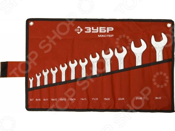 Набор ключей рожковых Зубр «Мастер» 27010-H12 набор инструментов зубр 82 предмета мастер 27635 h82