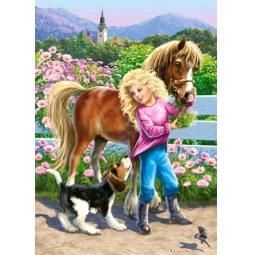Купить Пазл 60 элементов Castorland «Прогулка с пони и собакой»