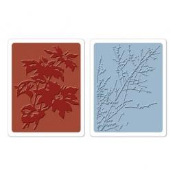 фото Набор форм для эмбоссирования Sizzix Textured Impressions Куст пуансеттии и зимние ягодки