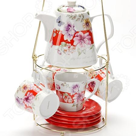 Чайный набор Mayer&amp;amp;Boch MB-24732Чайные и кофейные наборы<br>Чайный набор Mayer Boch MB-24732 отличается своим изысканным дизайном и функциональностью. Несмотря на свою внешнюю хрупкость, каждый из предметов набора обладает высокой прочностью и надежностью. Аккуратные чашечки и яркие оригинальные блюдца выполнены из высококачественной керамики - материала безопасного для здоровья и надолго сохраняющего тепло напитка. Элегантный, классический дизайн с изящным цветочным рисунком делают это чайный набор прекрасным украшением любого стола. Главным достоинством этого набора является то, что в комплект также входит аккуратный заварочный чайник. Он делает набор более полным, а сервировку более изысканной. В дополнение имеется специальная металлическая подставка с ручкой, которая позволяет легко переносить сервиз в удобное для вас место. Чайный набор Mayer Boch MB-24732 также можно преподнести в качестве оригинального и практичного подарка для своих родных и самых близких!<br>