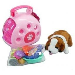фото Мягкая игрушка Shantou Gepai «Щенок с переноской и аксессуарами»