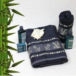 фото Полотенце махровое Mariposa Tropics gr.navy. Размер полотенца: 70х140 см