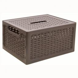 фото Ящик складной с крышкой IDEA. Цвет: коричневый. Габариты: 370x280x190