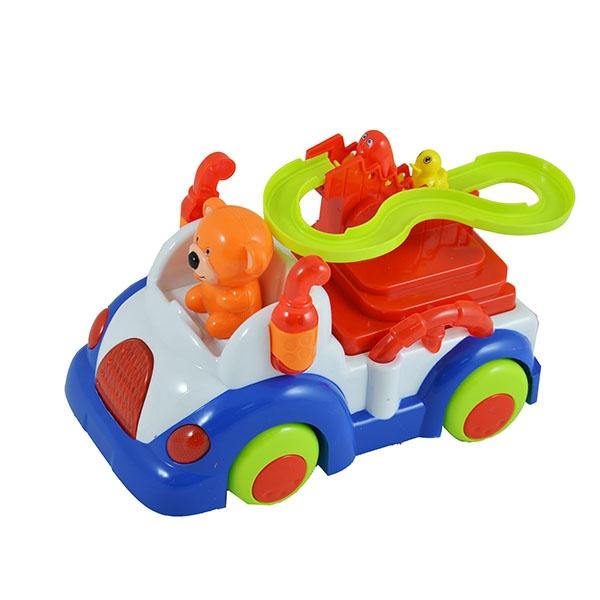 Игрушка музыкальная Bear «Машинка»Кубики<br>Игрушка музыкальная Bear Машинка предназначена для таких маленьких, но уже таких любознательных малышей. Модель создана в забавном, красочном стиле, а кузов имеет округлые очертания, что очень нравится детям. Машина оснащена световыми и звуковыми эффектами, что сделает игровой процесс еще более захватывающим. С расположенной на кузове автомобильчика горки, скатываются комплектные фигурки. Управляет грузовичком веселый Мишка. Игрушка музыкальная Bear Машинка изготовлена из высококачественного пластика. Материал абсолютно безвреден и не содержит токсических веществ. Изделие способствуют развитию зрительной координации, воображения и мелкой моторики рук ребенка, а издаваемые игрушкой звуки активно стимулируют его слух. Для работы требуются батарейки не входят в комплект .<br>