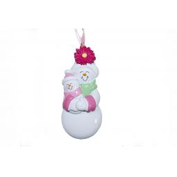 фото Елочное украшение Crystal Deco «Пара Снеговиков». Цвет: розовый