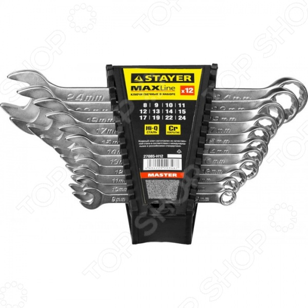 Набор ключей комбинированных Stayer Master 27085-H12 набор ключей накидных изогнутых stayer мастер 27151 h6