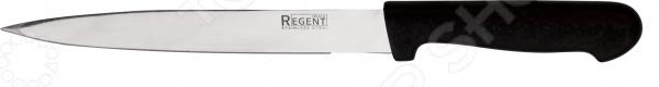 Нож Regent разделочный PrestoНожи<br>Нож Regent разделочный Presto качественное изделие, которое пригодится на любой кухне. Полотно ножа изготовлено из нержавеющей стали, благодаря чему оно длительное время будет сохранять необходимую остроту и изящный глянцевый блеск. Сталь идеально подходит для взаимодействия с продуктами питания, так как она устойчива к коррозии, не выделяет вредных веществ и не придает пище металлический привкус. Эргономичная рукоятка ножа выполнена из пластика она приятна на ощупь, не скользит в руках и легко очищается. Нож позволит максимально удобно разделывать свежее и приготовленное мясо, а также измельчать овощи крупного и среднего размера. Благодаря изящному лаконичному дизайну изделие будет замечательно смотреться в интерьере любой кухни, внесет в него новизну и особый уют, станет помощником в создании самых разнообразных кулинарных шедевров.<br>