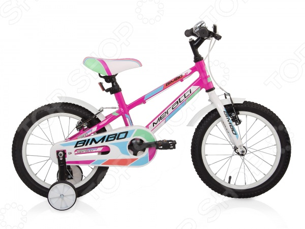 Велосипед детский Meratti Bimbo 16Велосипеды подростковые и детские<br>Велосипед детский Meratti Bimbo 16 двухколесный велосипед для ребенка, который учится самостоятельно бороздить задний двор, парк и аллею. Рама велосипеда изготовлена из металла, сидение достаточно удобное и широкое. Есть дополнительные колеса для балансировки и предотвращения падений, и для того, что бы обезопасить малыша. Цепь прикрыта пластиковой планкой, чтобы штанишки на затянуло во время езды. Основные характеристики:  Стальная рама;  Комфортное седло;  Защита цепи;  Страховочные колеса. Технологии:  XC Ergo Frame оптимальная геометрия рамы для долговременных поездок и соревнований по кросс-кантри .  Inforced Critical Joints дополнительное конструктивное усиление точек рамы с критической нагрузкой .<br>